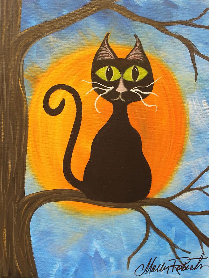 Halloween Painting - Kitty Of The Night by Molly Roberts