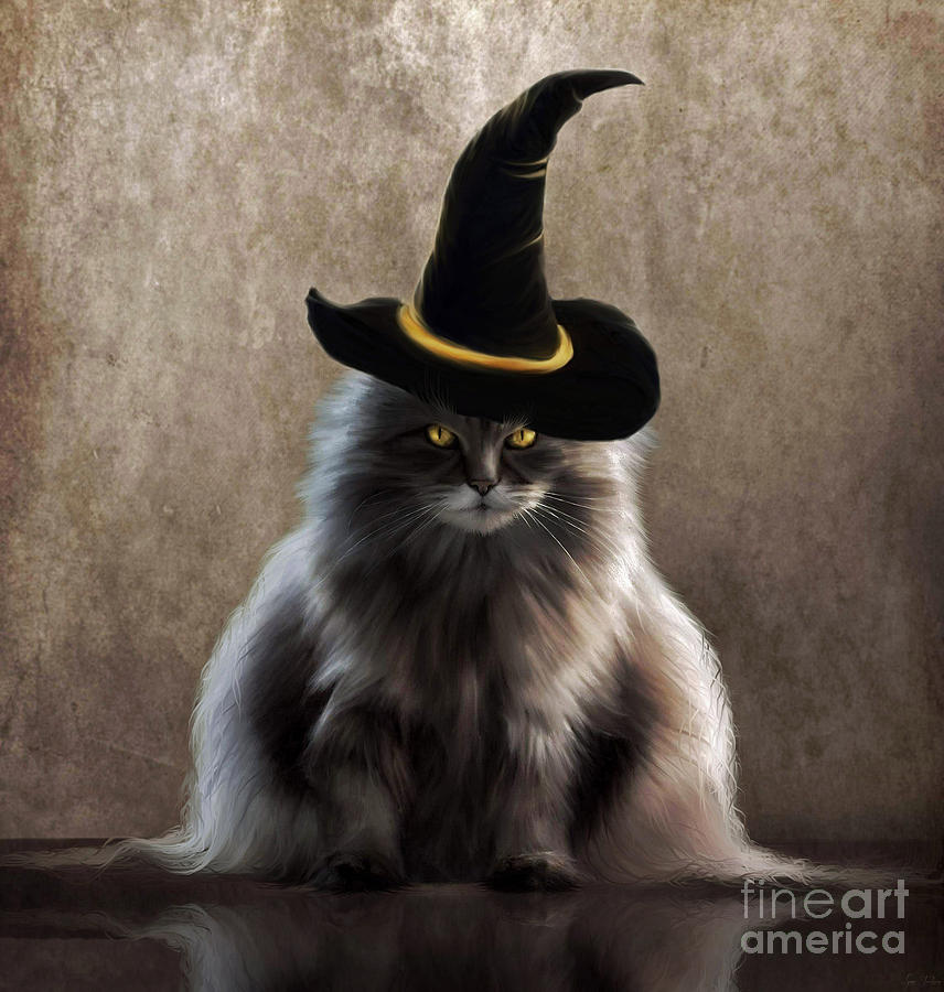 Cat Painting - Kitty Witch by Lynn Jackson