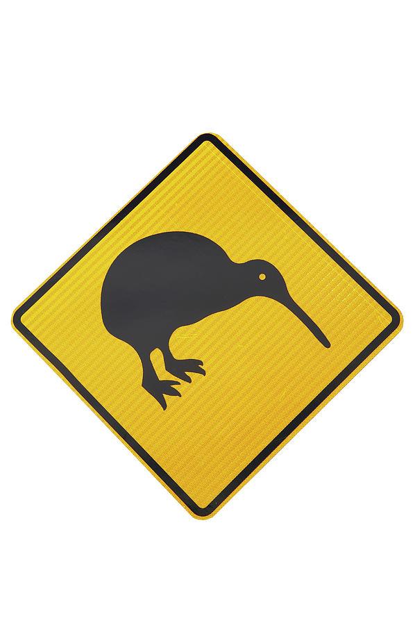 Crossing Photograph - Kiwi Warning Sign, New Zealand by David Wall