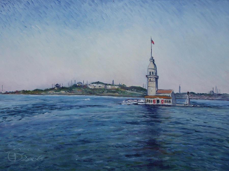 South African Painters Painting - Kiz Kulezi Leanders Tower Istanbul Turkey by Enver Larney