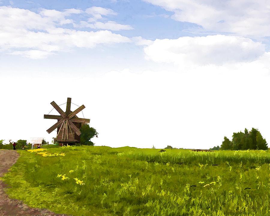 Landscape Photograph - Kizhi Island Windmill Russia by Glen Glancy