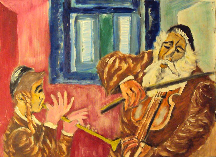 Jewish Symbol Painting - Klezmer by Mimi Eskenazi