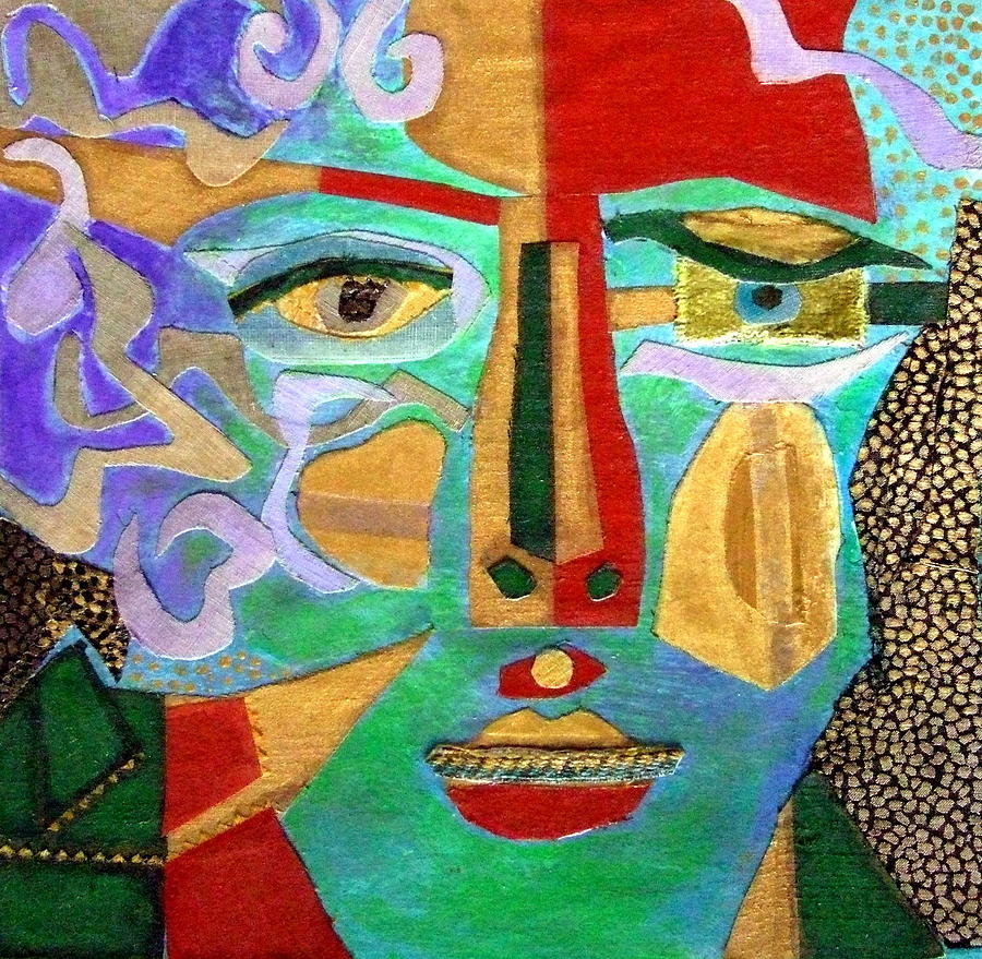 Mixed Media Portrait Mixed Media - Klimt Face by Diane Fine
