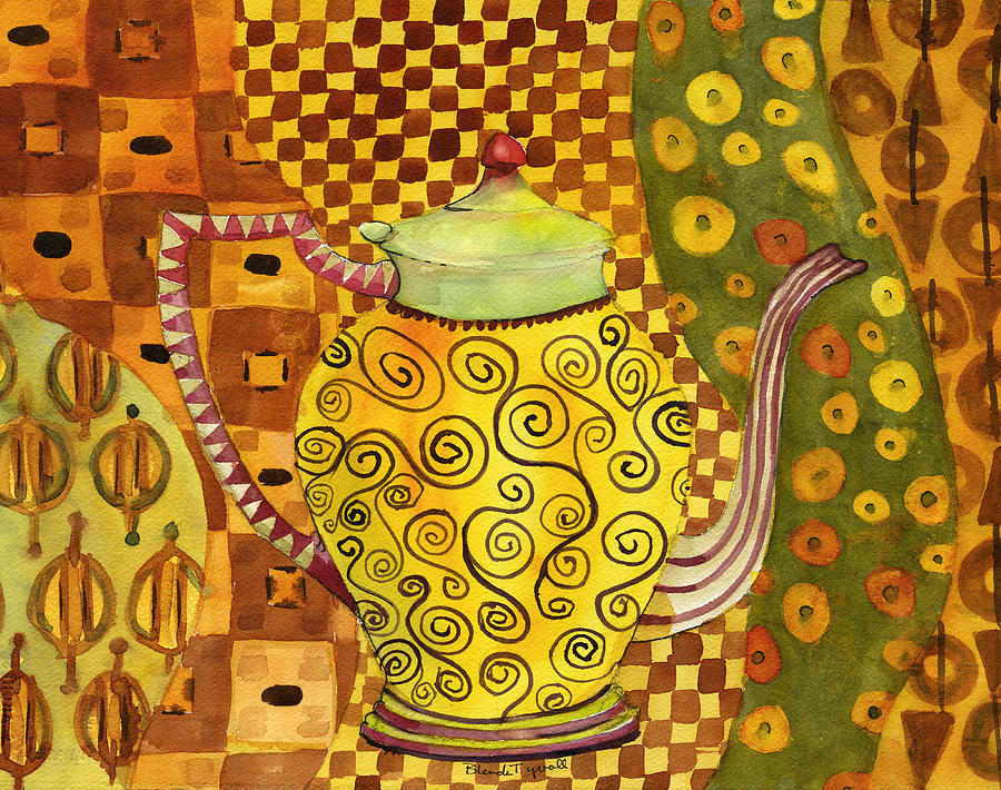 Klimt Painting - Klimt Style Teapot Blenda Studio by Blenda Studio