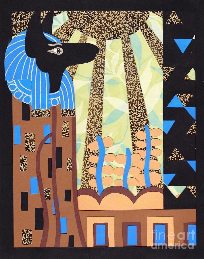 Paper Relief - Klimts Paper Anubis by Sarah Durbin