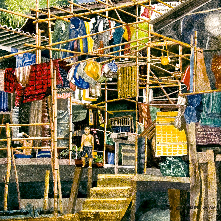 Watercolor Painting Painting - Klong House by Andre Salvador