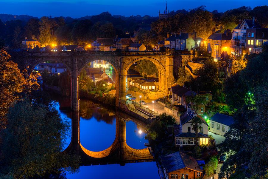 Europe Photograph - Knaresbrough Viaduct Night Reflection by Dennis Dame