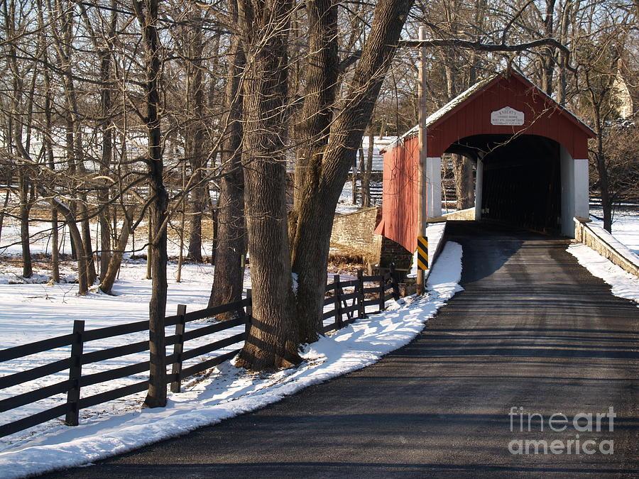 Bridge Photograph - Knechts Bridge On Snowy Day - Bucks County by Anna Lisa Yoder