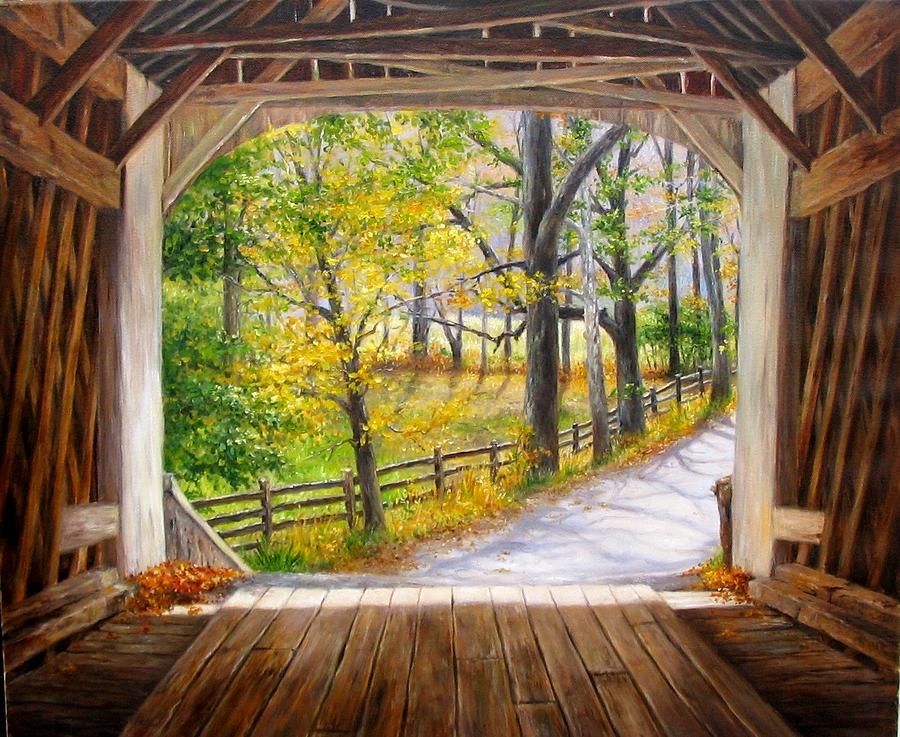 Landscape Painting - Knechts Covered Bridge by Helen Lee Meyers