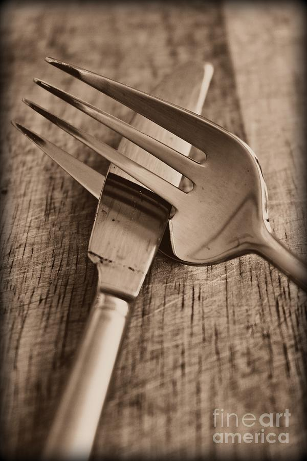 Knife Photograph - Knife And Fork by Clare Bevan