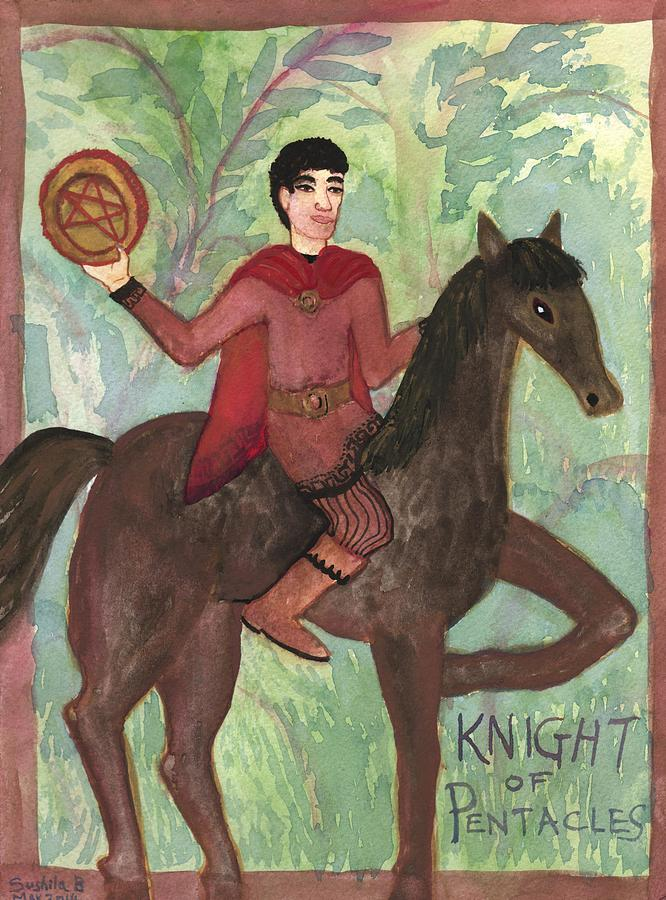 Tarot Painting - Knight Of Pentacles by Sushila Burgess
