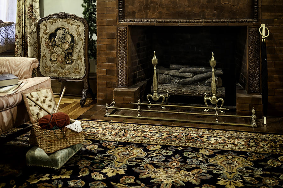 Knitting Photograph - Knitting In Front Of A Vintage Fireplace by Lynn Palmer