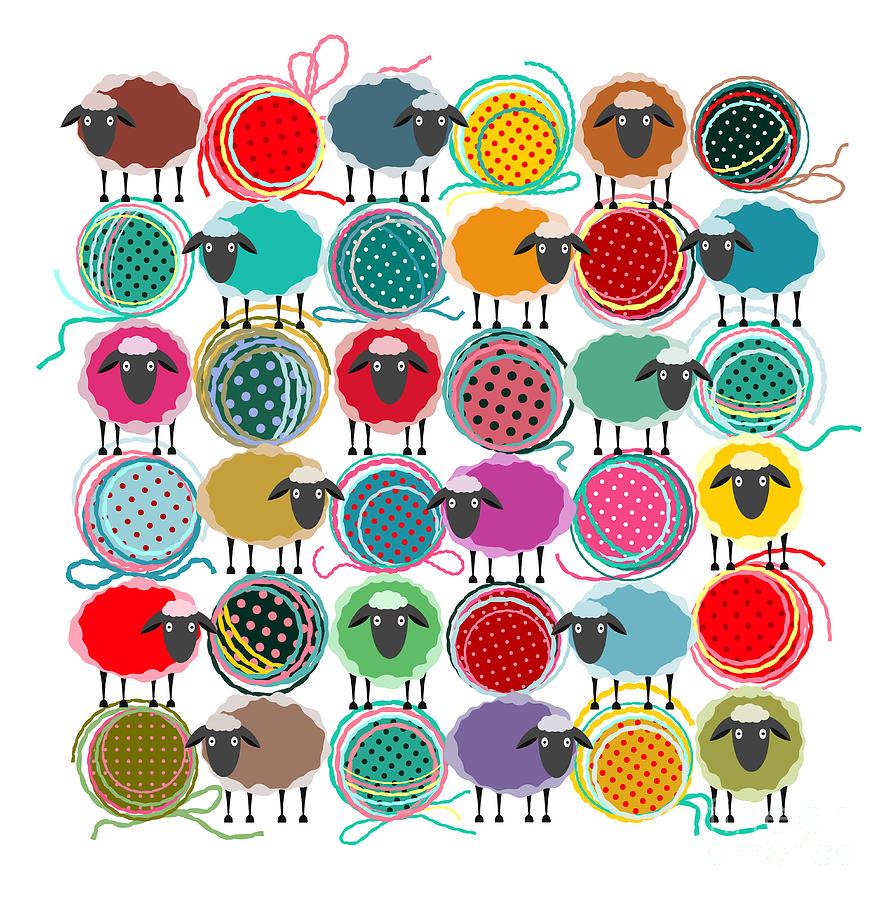 Wool Digital Art - Knitting Yarn Balls And Sheep Abstract by Popmarleo