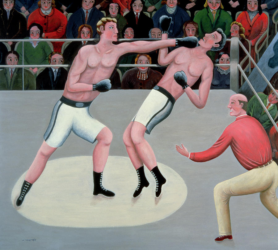 Referee; Boxing; Ring; Punch Painting - Knock Out by Jerzy Marek