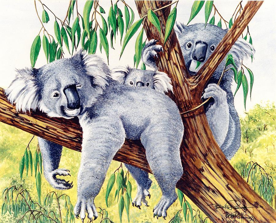 Koalas Family At Rest Painting By Bob Patterson