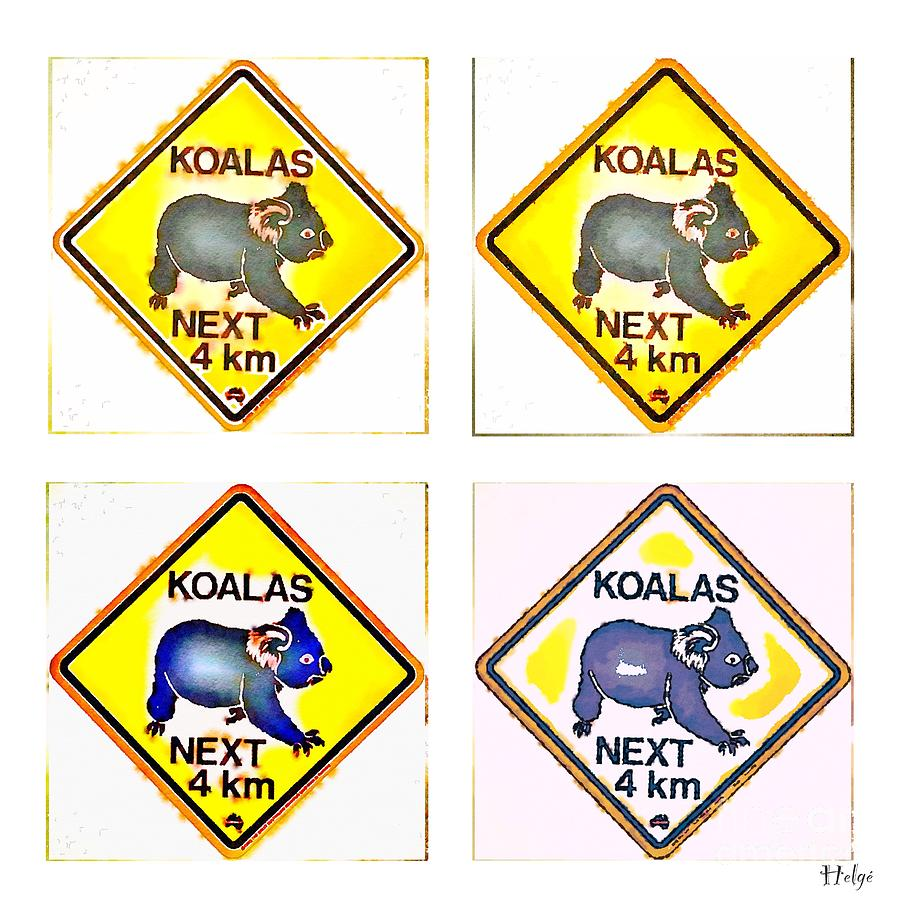 KOALAS Road Sign Pop Art Painting by HELGE Art Gallery