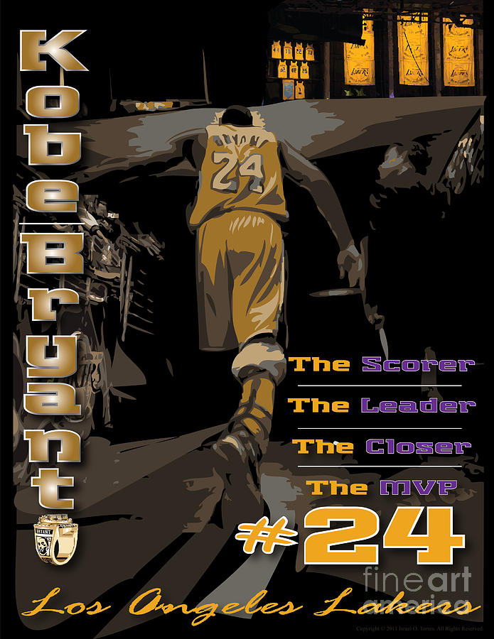 Kobe Bryant Digital Art - Kobe Bryant Game Over by Israel Torres