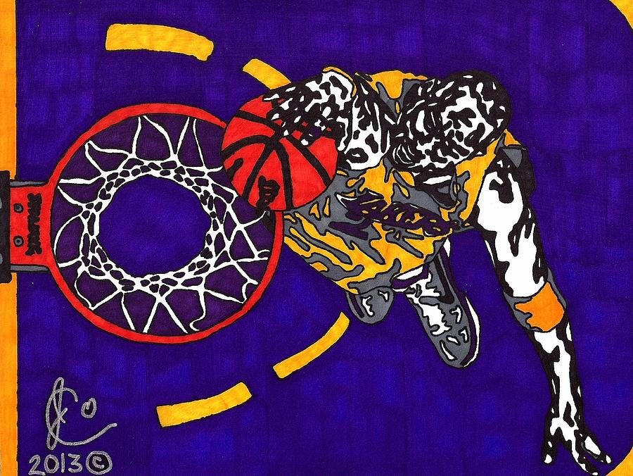 American Basketball Drawing - Kobe Bryant by Jeremiah Colley