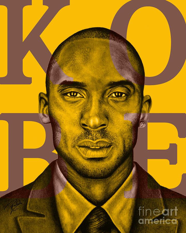 Kobe Drawing - Kobe Bryant Lakers Gold by Rabab Ali