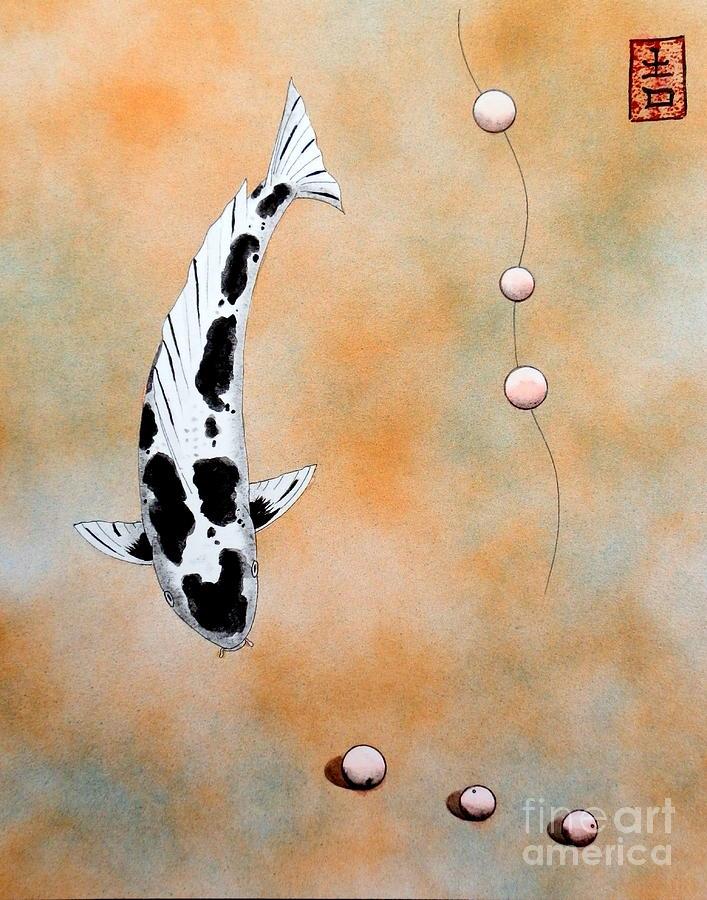Quell Painting - Koi Bekko Broken Necklace Painting by Gordon Lavender