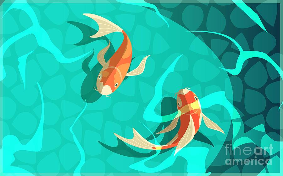 Symbol Digital Art - Koi Carp Japanese  Symbol Of Luck by Macrovector
