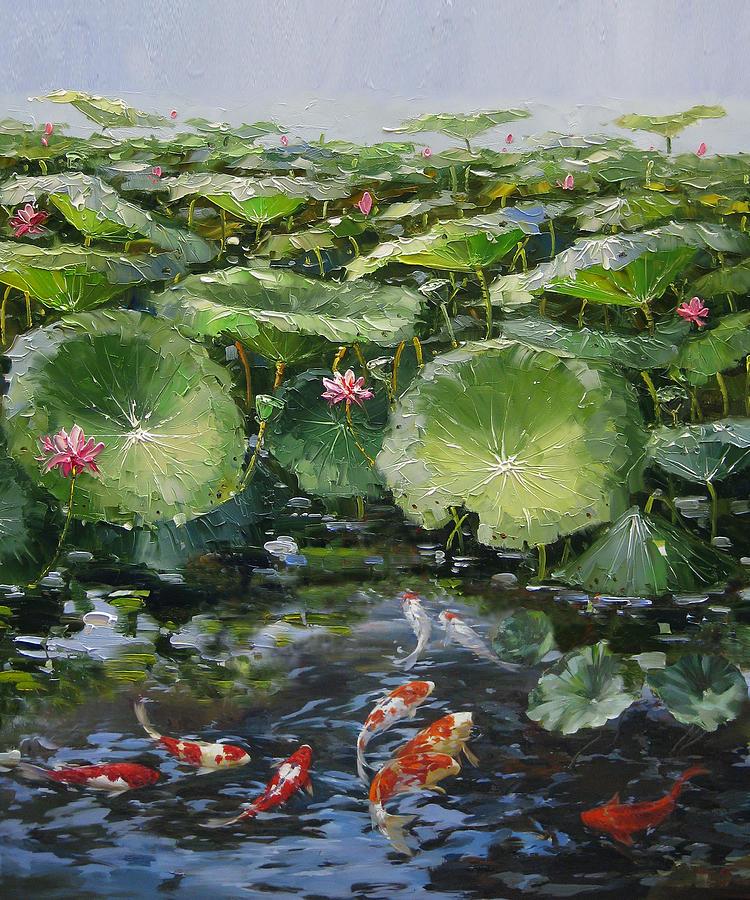 Koi Painting - Koi Fish And Lotus by Enxu Zhou