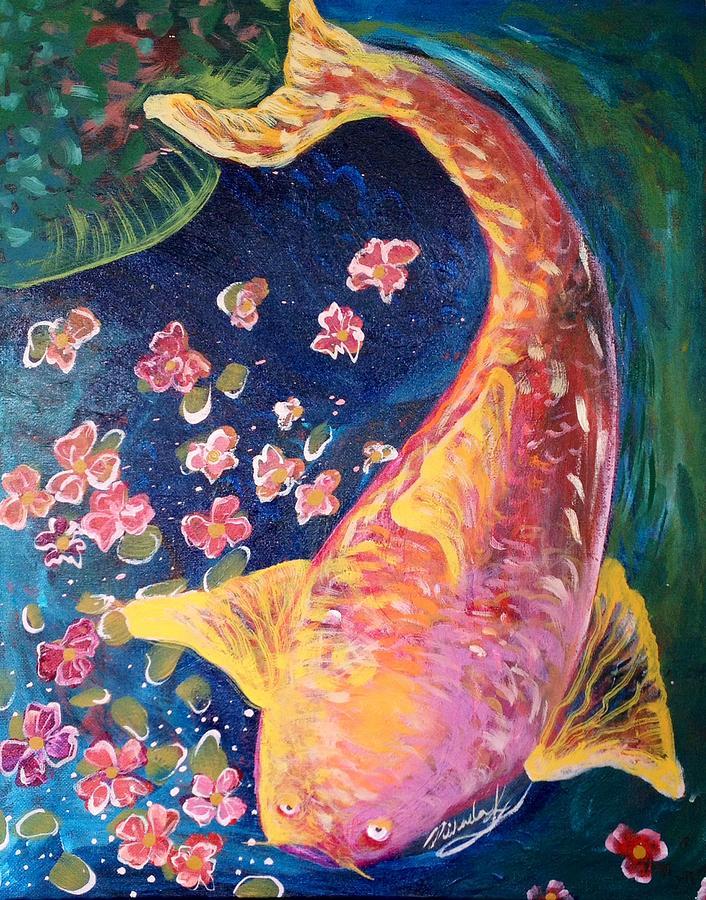 Koi Fish Painting - Koi Fish by Michaela Kraemer