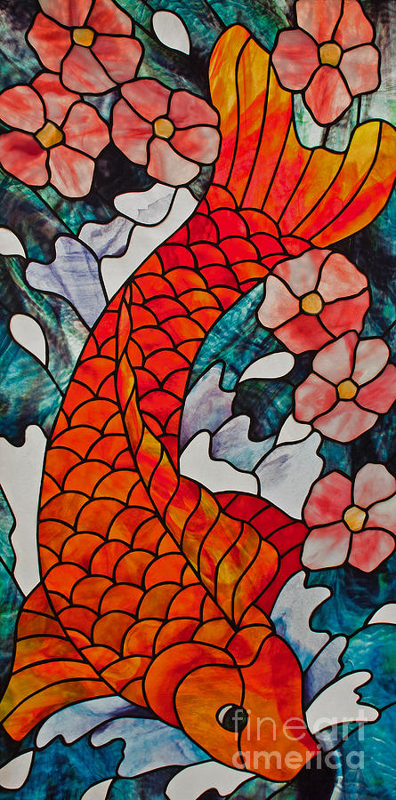 Stained Glass Glass Art - Koi Fish With Cherry Blossoms by David Kennedy