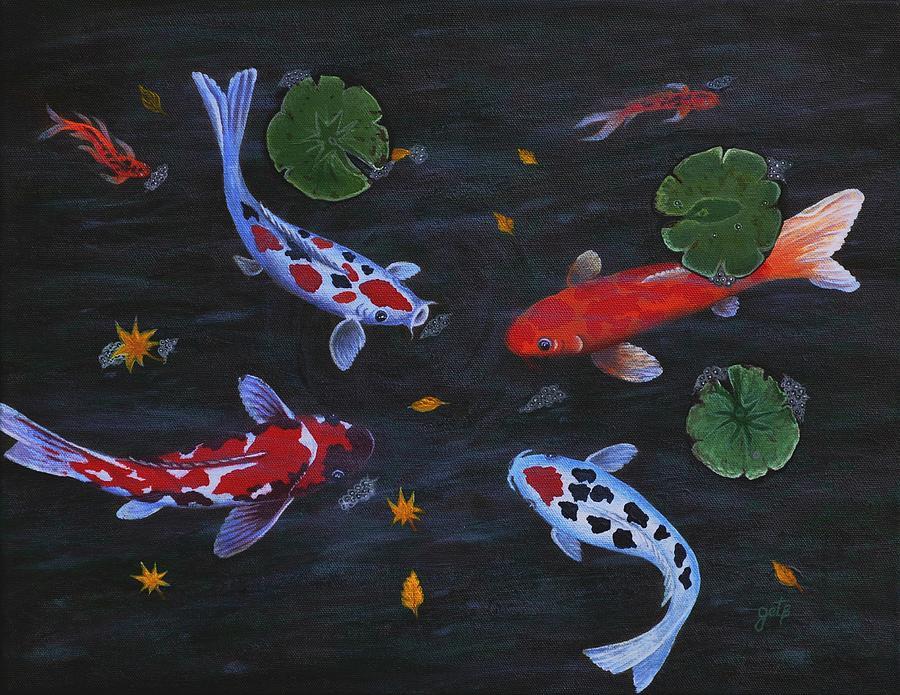 Koi Fish Painting - Koi Fishes Original Acrylic Painting by Georgeta  Blanaru