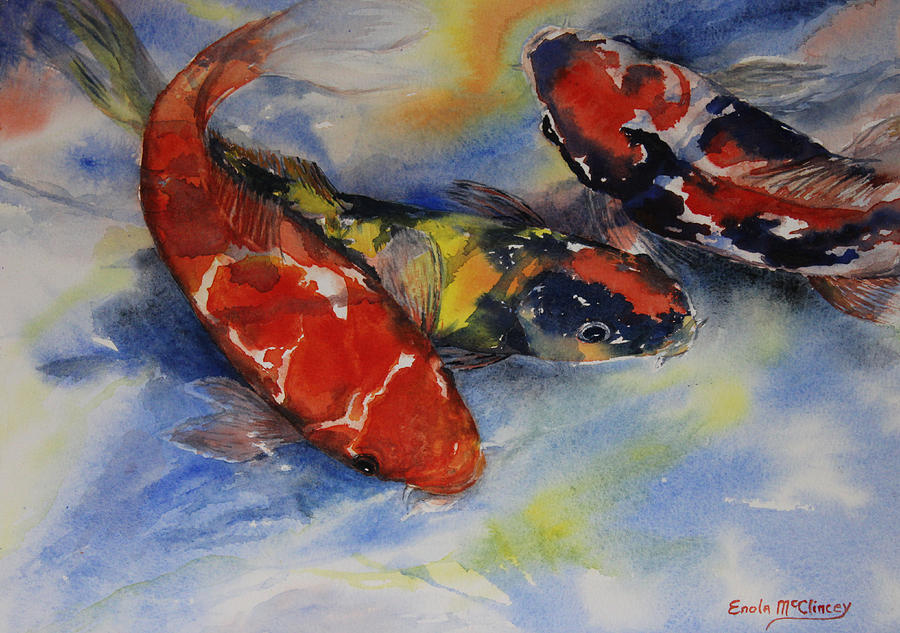 Watercolor Paintings Painting - Koi Party by Enola McClincey