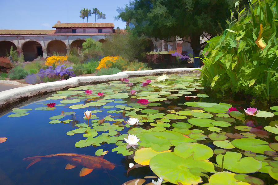 Water Lily Mixed Media - Koi Pond In California Mission by Cliff Wassmann