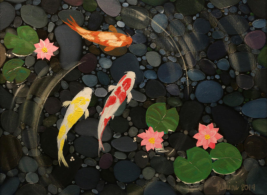 Koi pond painting by queennee lunceford for Koi pool paint