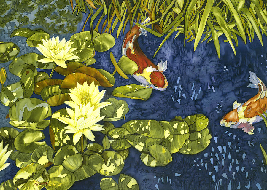 Nature Painting - Koi Rendevous by Artimis Alcyone