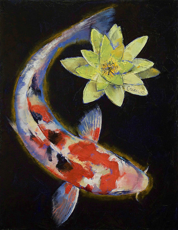 Koi Painting - Koi with Yellow Water Lily by Michael Creese