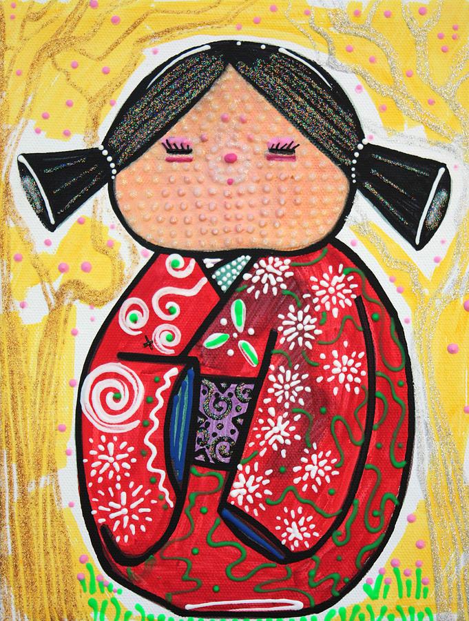 Kokeshi Painting - Kokeshi by Laura Barbosa