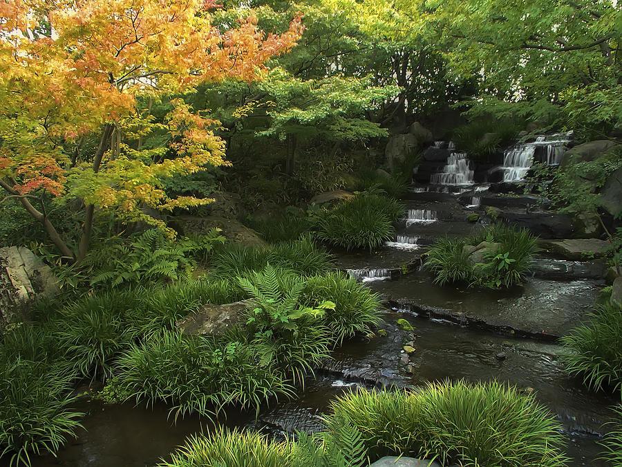 Japan Photograph - Kokoen Garden Waterfall - Himeji Japan by Daniel Hagerman