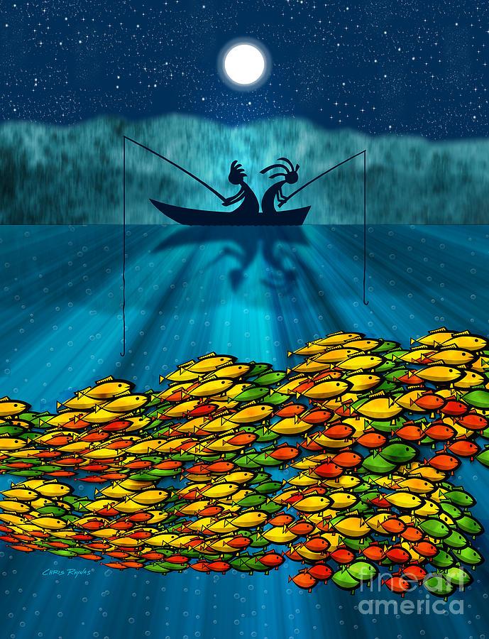 Fishing Digital Art - Kokopelli Fishing by Chris Rhynas