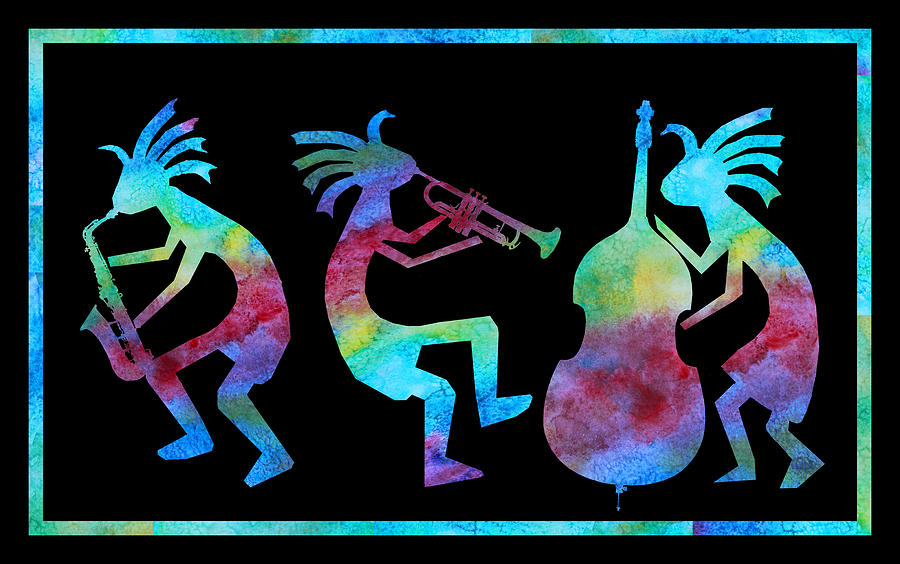 Kokopelli Painting - Kokopelli Jazz Trio by Jenny Armitage