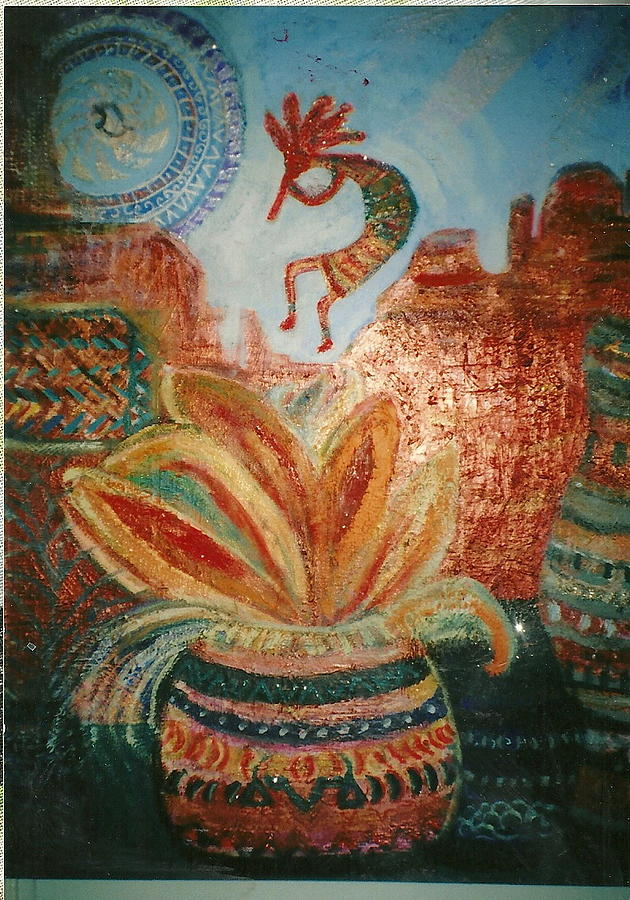 Big Painting - Kokopelli On Top Of The World by Anne-Elizabeth Whiteway