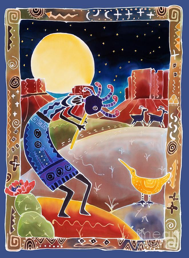 Kokopelli Painting - Kokopelli Sings Up the Moon by Harriet Peck Taylor