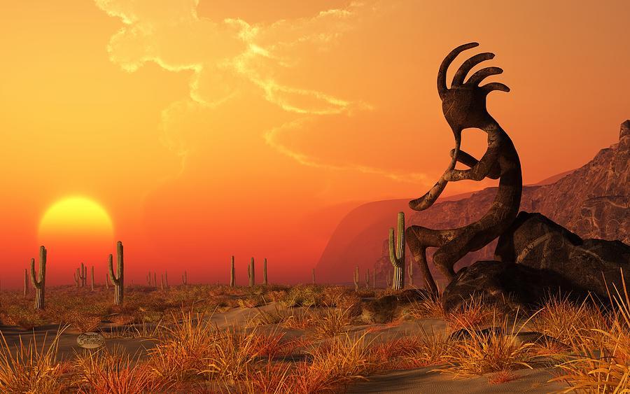Kokopelli Digital Art - Kokopelli Sunset by Daniel Eskridge
