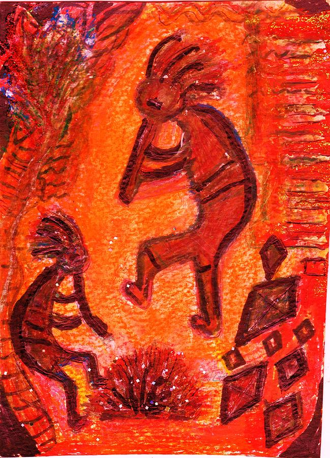 Kokopelli Mixed Media - Kokopellis Fiery Dance by Anne-Elizabeth Whiteway