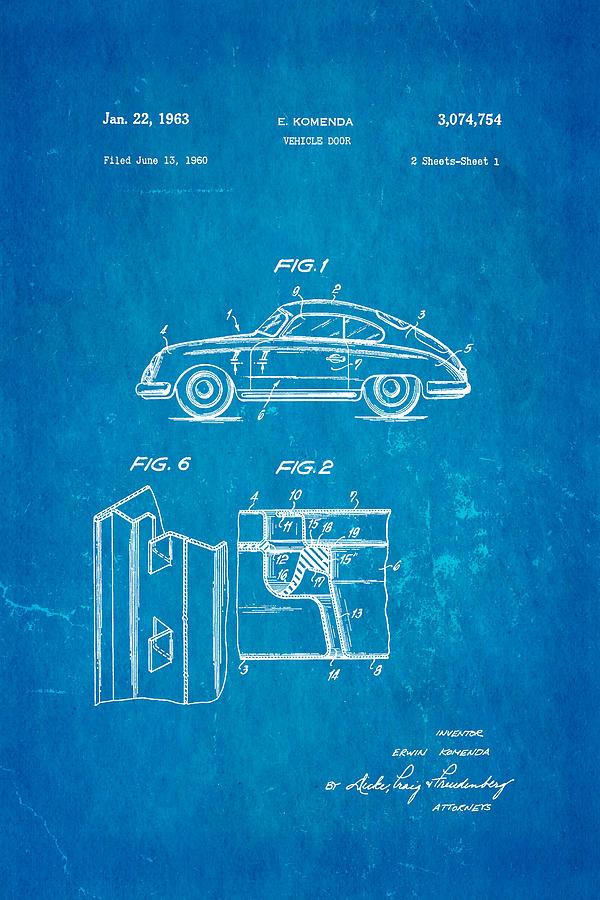 Automotive Photograph - Komenda Porsche Vehicle Door Design Patent Art 1963 Blueprint by Ian Monk