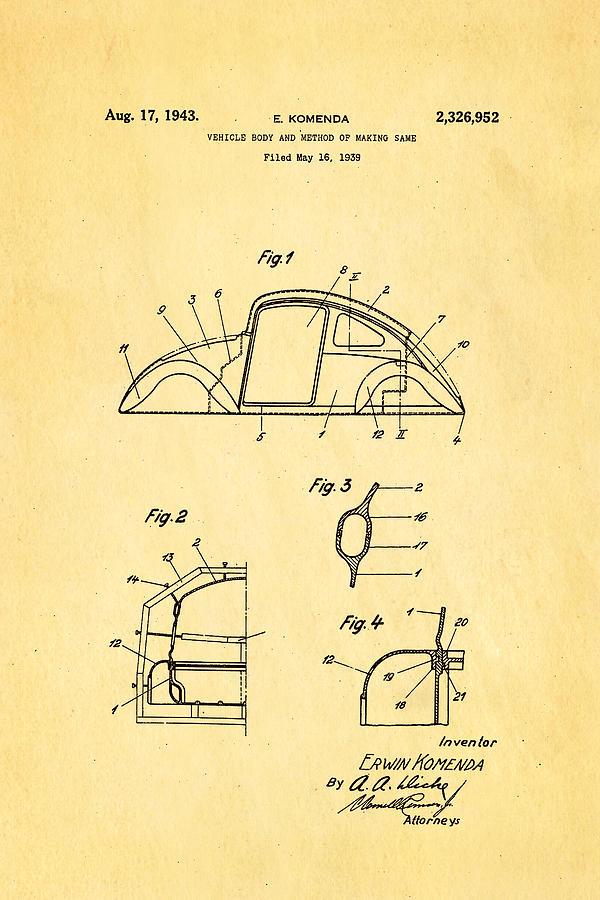 Automotive Photograph - Komenda Vw Beetle Body Design Patent Art 1943 by Ian Monk