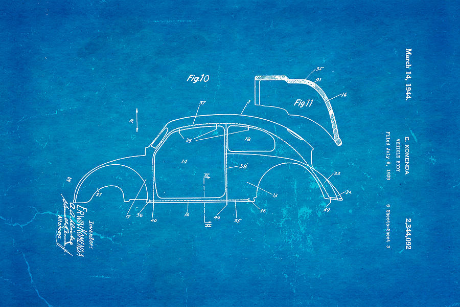 Automotive Photograph   Komenda Vw Beetle Body Design Patent Art 2 1944  Blueprint by Ian Monk. Komenda Vw Beetle Body Design Patent Art 2 1944 Blueprint