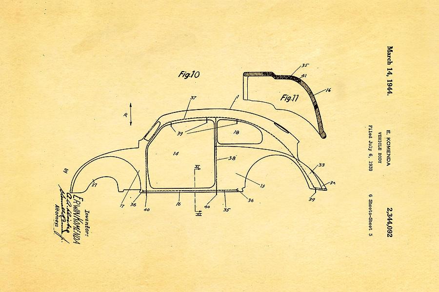 Automotive Photograph - Komenda Vw Beetle Body Design Patent Art 2 1944 by Ian Monk
