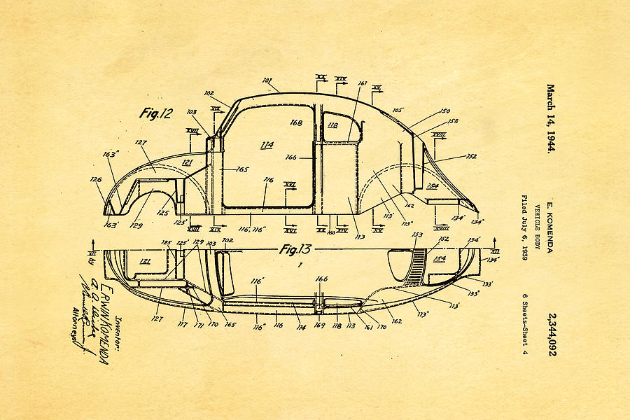 Automotive Photograph - Komenda Vw Beetle Body Design Patent Art 3 1944 by Ian Monk