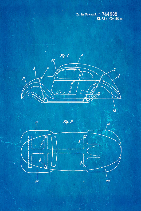 Automotive Photograph - Komenda Vw Beetle Official German Design Patent Art Blueprint by Ian Monk