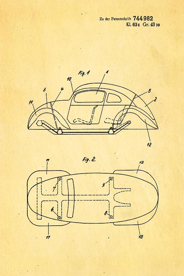 Automotive Photograph - Komenda Vw Beetle Official German Design Patent Art by Ian Monk