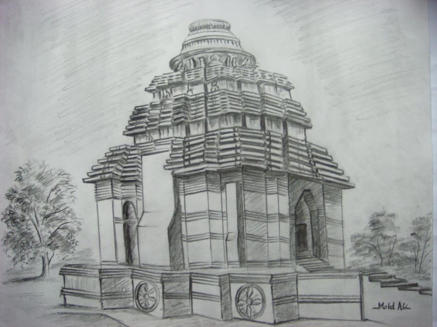 konark temple india painting by mohamad ali